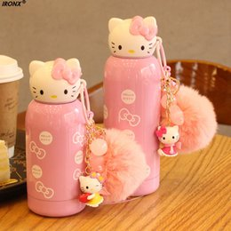 Wholesale Water Bottles For Children - IRONX Hello Kitty kettle 200ml 280ml Mini Cartoon Stainless Steel Children Water Bottles For Kids Cute Drinkware Gift MI5