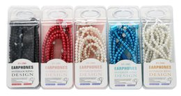 Wholesale Rhinestone Microphone - Luxury Rhinestone Jewelry Pearl Necklace Earphones Headphone Earbuds With Microphone Pink Girl Headphone For Iphone HuaWei Christmas Gift