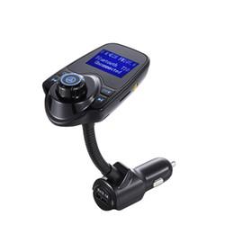 2018 Yeni öğe T10 Kablosuz Araba MP3 Bluetooth Araba Oyuncu LCD Ses Stereo USB Araç Şarj FM Verici Destek TF Kart tarafından dhl nereden iphone bluetooth desteği tedarikçiler