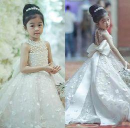 Wholesale kids bridesmaid dresses line - Spaghetti Flower Girls Dresses Bow Belt Bead Princess Kids Floor Length Ball Gown Wedding Bridesmaid Dress Girl Pageant Dress