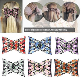 plastic hair comb clips Promo Codes - Vintage Jewelled Beaded Elastic Stretch Rose Flower Bow Glass Bead Cuff Double Insert Clips Headwear Magic Hair Comb 8 Colors
