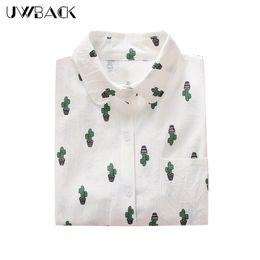 Perro de bolsillo blanco online-Uwback Nuevas Mujeres Camisas de Dibujos Animados Blancos 2018 Nueva Novedad Lindo Cactus Camisa de Estampado con Bolsillos Blusas Tops para Mujeres, EB091