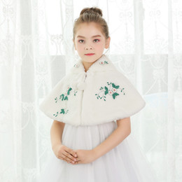 Wholesale Shrug Girl - Cute Spring Winter Girl's Wedding Shawl Faux Fur Wool Girls Capes Cloak With Embroidery Princess Big Girls Fur Jacket Shrug Coat Kids Cheap