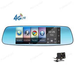 Wholesale Gps Bluetooth Rear View Mirror - 7 inch 4G Car DVR Android 5.1 rear view mirror GPS dual lens camera dash cam 16GB Bluetooth Wifi Video recorder Registrar