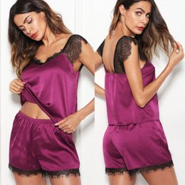 e2d466d692 Summer Women Silk Satin Nightwear Lingerie Set Ladies Lace Strap Crop Top  Vest Shorts Sleepwear Pajamas Set Nightdress Underwear