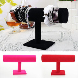 Wholesale Display Watch Holder Acrylic - 1Pcs Black Rose Red 3 Colors Bracelet Chain Watch Holder T bar Rack Jewelry Display Organizer Stand Holder Packaging