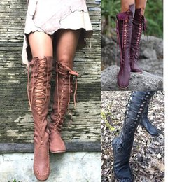 46bc03b2eaa1 Fashion Women Lace Up Riding Boots Chunky Low Heel Knee High Boots Winter  Shoes Plus Size 43