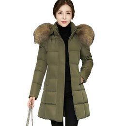Wholesale Hats Short Hair - Winter Women Down Cotton Long Coat 2017 New Parkas Hair Collar Hooded Female Warm Thick Jackets Fashion Slim Lady Outerwear Z1