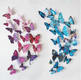 Pared de papel tapiz mariposa online-Mariposas 3D Imán de Nevera Wallpaper Wallpaper Decoración Mariposa Etiqueta de la pared en la pared para la decoración del hogar 12pcs