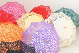 Wholesale Noble Child - Lace Fan And Wedding Umbrella Ladies Lace Parasol exquisitely crafted in cotton Battenburg lace and embroideryClassic Multi-color Noble Eleg