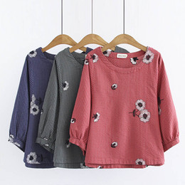 Discount formal blouses tops - Summer Autumn Striped Casual Sweet Shirt Women O-Necl Half Lantern Sleeve Loose Embroidered Female Cotton Blouse Blusa Tops U058