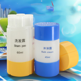 Wholesale Wholesale Empty Shower Gel - Wholesale- 60ML 4 Bottle in1SET Outdoor Travel Cosmetics Bottles Refillable Portable Shampoo Shower Gel Storage Laundry Bag Empty Bottles