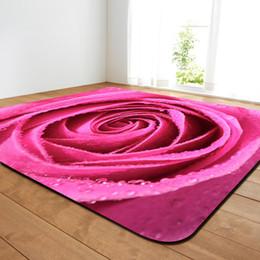 2019 cama 3d rosas verdes Rose Valentine Tapete Para Sala de estar 3D Decoração de Casa Tapetes de Quarto Não-slip Cama Tapete De Área De Cabeceira cama 3d rosas verdes barato