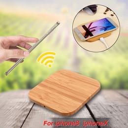 Smartphone schlank online-1 stücke tragbare qi drahtlose ladegerät lade schlank holz pad für apple iphone xs max 7 8 plus 6 smartphone drahtlose ladegerät pad für samsung s7
