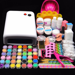 Kit de uñas falsas uv online-Pro 36w lámpara Uv para uñas Uv Gel Manicure Kit Acrílico Nail Art Mould Display Glittery Dust File Falsos consejos Manicure Decor Kits