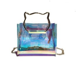 Chiari borse di regalo borse online-Più nuovo trasparente ologramma borse a tracolla borse laser mini catena trasparente pochette gatto maniglia in metallo design moda borsa regalo di buona qualità