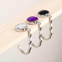 Porte-monnaie violet en Ligne-1 pc Portable Pliant Strass Cristal Alliage Sac À Main Sac Sac Hanger Crochet Titulaire Pourpre Plus Récent 2016 populaire dans le monde entier vente