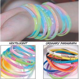 Wholesale luminous wristbands - Sports Women Printed Letters Luminous Silicone Bracelet Jewelry Unisex Trendy Rubber Flexible Wristband Wrist Bracelet Multicolor Random