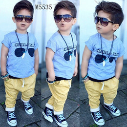Wholesale Wholesale Shirts For Kids - New fashion summer toddler baby kids boys clothes top T-shirt + long pants outfits 2pcs set fit for kids 0-5T