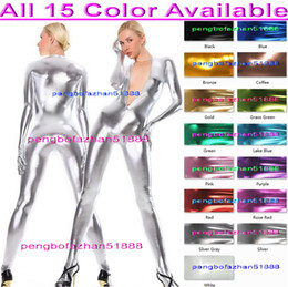Wholesale Silver Shiny Suit - Sexy Body Suit Outfit Sexy 15 Color Shiny Metallic Suit Catsuit Costumes Unisex Bodysuit Costumes Made Front Zip Halloween Cosplay Suit P162