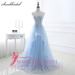 Wholesale Colorful Garden Lights - Real Photos Light Blue Garden Sweety Romantic Wedding Dresses A Line Sweetheart Lace up Sweep Train Sequins Applique Bridal Gowns rosa clara