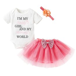 Wholesale Tulle Flowers For Headbands - Girls Sets Cotton Cute Letter Print Clothing Short Sleeve Tops and Tulle Skirt&Flower Headband for Kids 3pc Sets Daily 18Mar30