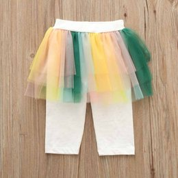 Wholesale Kids Skirted Leggings - 2 color 2018 INS new arrival baby kids colorful spring autumn cute False two color gauze skirt cotton pants free shipping