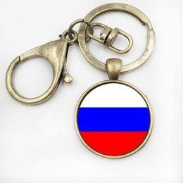 Wholesale Vintage Crystal Jewellery - Vintage GermanyRussia Flag Art Keychain Crystal Men BagCar Key Ring Jewellery Glass Dome Women Handbag Key Chain