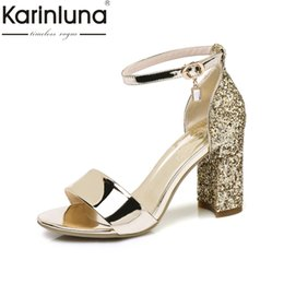 8a40d1499362 KARINLUNA 2017 big size 32-43 square high heels bling ankle strap crystal women  sandals office lady party shoes woman footwear