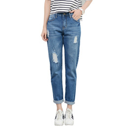 Wholesale Denim Brand Jeans For Women - 2018 New Fashion Women High Waist Jeans Boyfriend Brand Female Harem Pants Women Casual Jeans Ripped Jeans for Women Plus Size