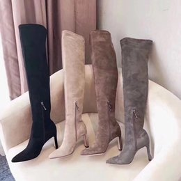 Wholesale Best Work Heels - 2018 Best Gift Women Fashion KNEE Boots with caramel color Snow boots with lace-up