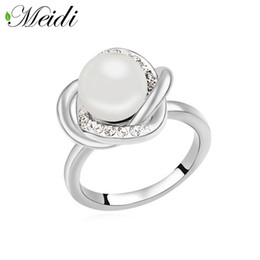 Wholesale Finger Top Ring Set - Pearl Ring Finger Adjustable Jewelry Accessories Simulated Pearl Like Ring AnelParty Jewelry Top Quality Engagement Gift Party