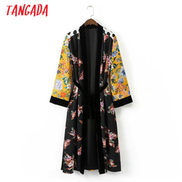 Wholesale Japan Style Kimono - Wholesale- Tangada Women Floral Print Kimono Long Jacket Coat Sashes Velvet Patchwork Long Sleeve With Belt Fashion Brand Mujer Coats XD09