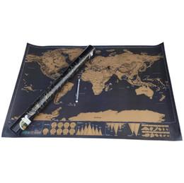 Design exclusivo Preto Deluxe Scratch Map Mapa de Viagem Raspe O Melhor Mapa Do Mundo para a Escola de Educação 82.5x59.4 cm Atacado de