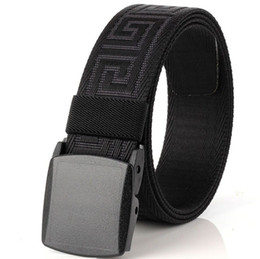 fashion canvas belts Promo Codes - 3.8CM Slim Men And Women Canvas Belt Fashion POM Automatic Buckle Belt For Women Man Outdoor Fans Tactical Equipment