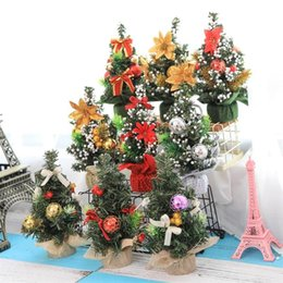 Mini albero di natale diy online-Carino mini albero di Natale artificiale 20 centimetri fai da te decorazioni per la casa artigianato figurine miniature mercato ornamenti per desktop di alta qualità 4 4yw BB