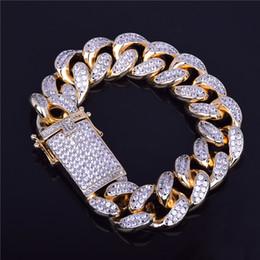 Wholesale 14k Cuban Link Bracelet - 18mm Men's Chunky Iced Out Zircon Miami Cuban Link Bracelet Bling Hip hop Jewelry Gold Silver AAA CZ Cuban Chain Bracelet 20cm