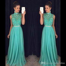 2019 Venta Caliente Aqua Green Beaded Prom Dresses A Line Halter Neck Lentejuelas Beaded Sash Vestidos Largos De Noche Concurso Formal Vestidos De