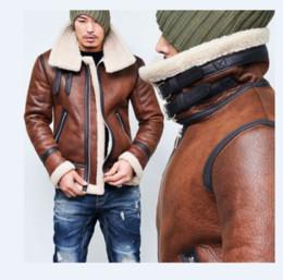 8879263f045 2019 cinturón de gamuza marrón Hombres de cuero de gamuza de invierno  cálido motocicleta abrigo grueso