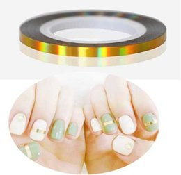 roll golden nails Coupons - 2 sheet Nail Lines Nail Art Lines Decorations Roll Striping Adhesive Tape Golden Metallic Tips Sticker