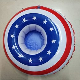 Wholesale Swims Usa - PVC Inflation USA National Flag Pool Floating Saucer Summer Sea Swim Bathing Cup Seat Coaster Single Hole Beach Cups Holder 4 5jx Y