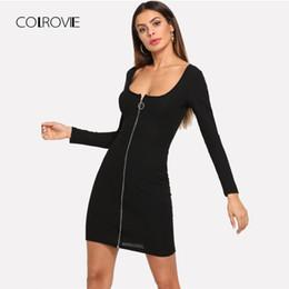 d83f3ebfa111 COLROVIE Black Solid Zip Up Slim Shirt Sexy Dress Women 2018 Autumn Long  Sleeve Party Dress Girl Bodycon Elegant Mini Dresses