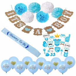 Wholesale mini banners - Baby Shower Decorations for Boy It's a Boy Banner Balloon Mini Pacifier Blue Mummy To Be Sash Baby Shower Favors Supplies