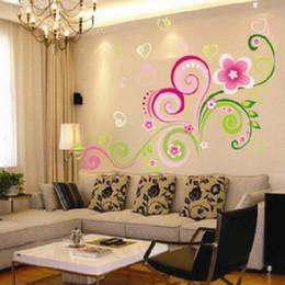 2019 etiquetas da parede dos corações das flores Decoração de casa decalque removível Art Kid vinil coração em forma de flor adesivo de parede de videira desconto etiquetas da parede dos corações das flores