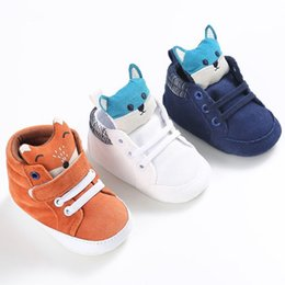 Wholesale first head - Baby Sneaker Shoes Spring Autumn Kid Boy Girl Fox Head Lace Cotton Cloth First Walker Anti-slip Soft Sole Toddler First Walkers