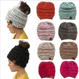 Wholesale character knit hats - CC Ponytail Beanie Hat Women Crochet Knit Cap Winter Skullies Beanies Warm Caps Female Knitted Hats For Ladies Winter Ponytail hat KKA5593
