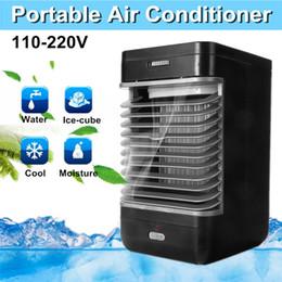 Filtros de ar universais on-line-110 v / 220 v Ar Condicionado Refrigerador de 2-velocidade Umidade Silencioso Fan EUA / UE Plug ABS Umidificador Purificador de Resfriamento Portátil Casa filtro de Fluxo
