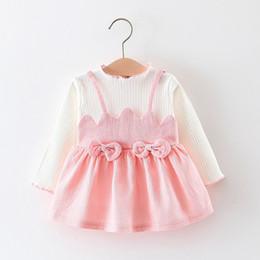 2019 rosa babykleid monate Baby Mädchen Kleidung Kleid mit Bögen für Kinder Kinder Kleidung Säugling tragen 6 12 18 24 Monate Kleinkind rosa choclate 1 2 Jahre rabatt rosa babykleid monate