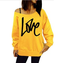 87d0357bff106 30Pcs Harajuku Autumn Women Sweatshirts Sexy Off Shoulder Love Letter  Printed Hoodies Plus Size Casual Long Sleeve Loose Pullover