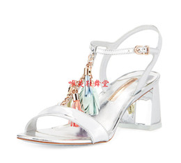 Wholesale Cute Summer Heels - Sophia Webster summer lady dress shoe Women sandals chunky heel Sandals party shoes cute pom pom sandals print leather pumps pink high heels